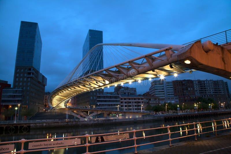 Calatrava bridge. At night in Bilbao, Spain stock image