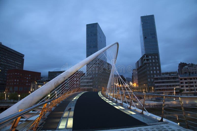 Calatrava bridge. At night in Bilbao, Spain royalty free stock images