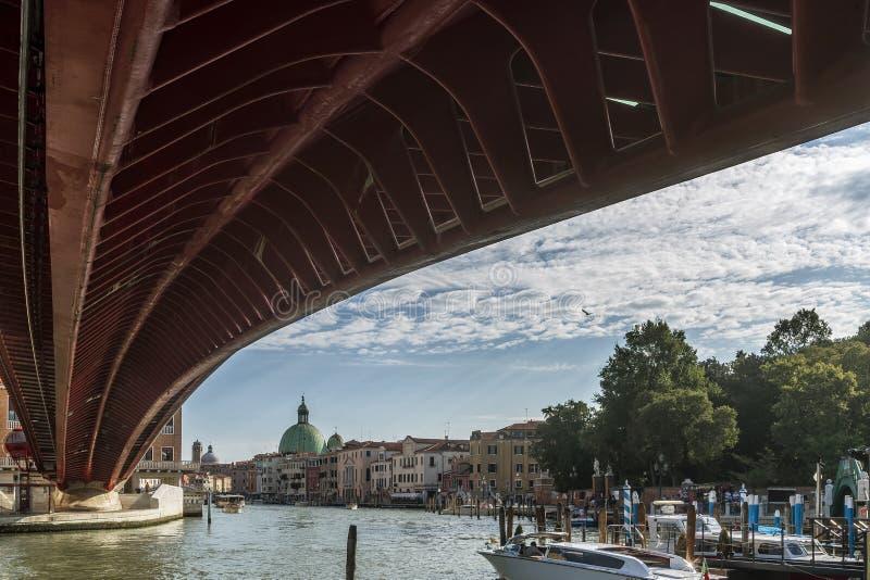 Calatrava`s Bridge, Ponte della Costituzione, Venice, Italy. Venice, Calatrava`s Bridge with some clouds in the background, Italy, Europe stock photos