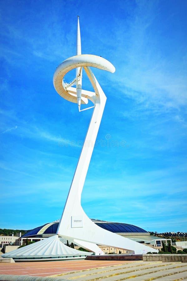 Calatrava torntelekommunikationer Barcelona royaltyfria foton