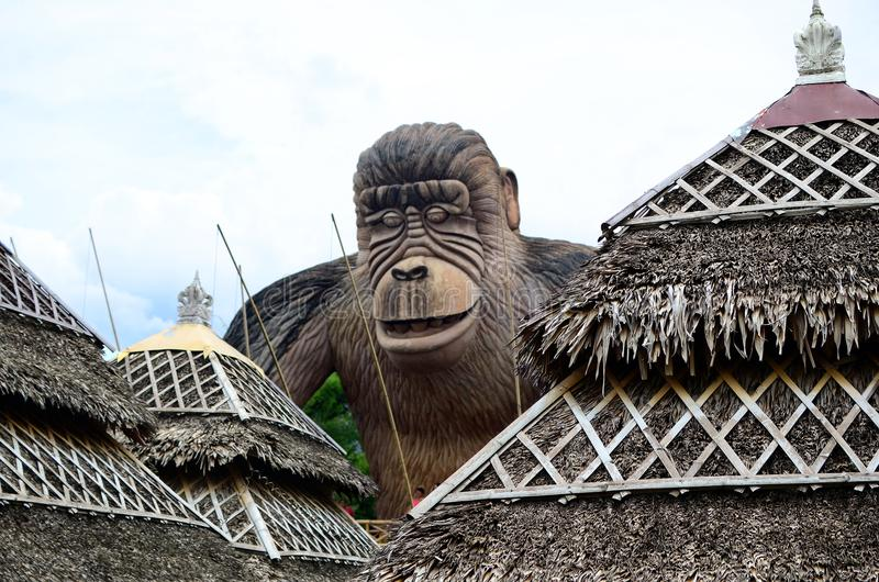Huge concrete carved King kong monkey statue. Calauan Laguna, Philippines - August 28, 2016: Huge concrete carved King kong monkey statue in an Asian aquatic stock photography