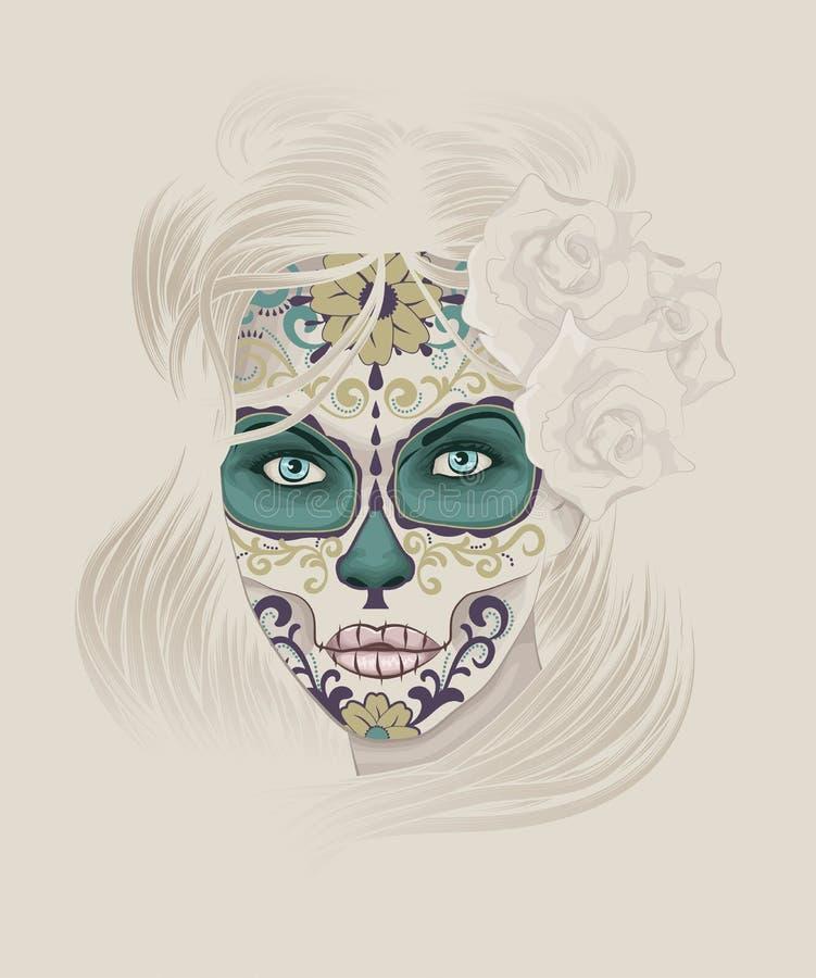 Calavera bonito Catrina ou senhora do crânio do açúcar ilustração stock