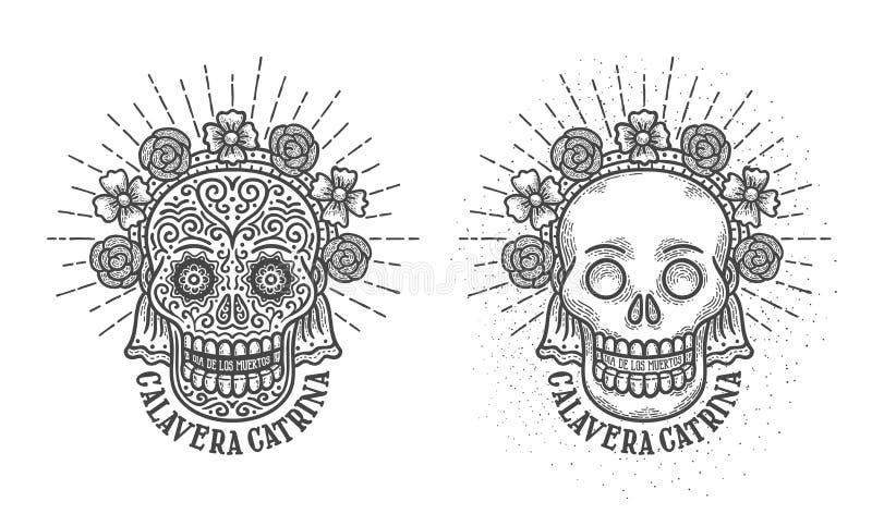 Calavera catrina dia de los muertos. Calavera catrina. Cranium with decorations symbol of mexican holiday dia de los muertos - day of the dead in spanish royalty free illustration