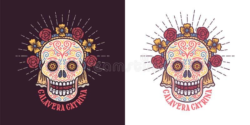 Calavera catrina Dia de los muertos sugar skull symbol with flowers. Day of thw dead retro illustration royalty free illustration