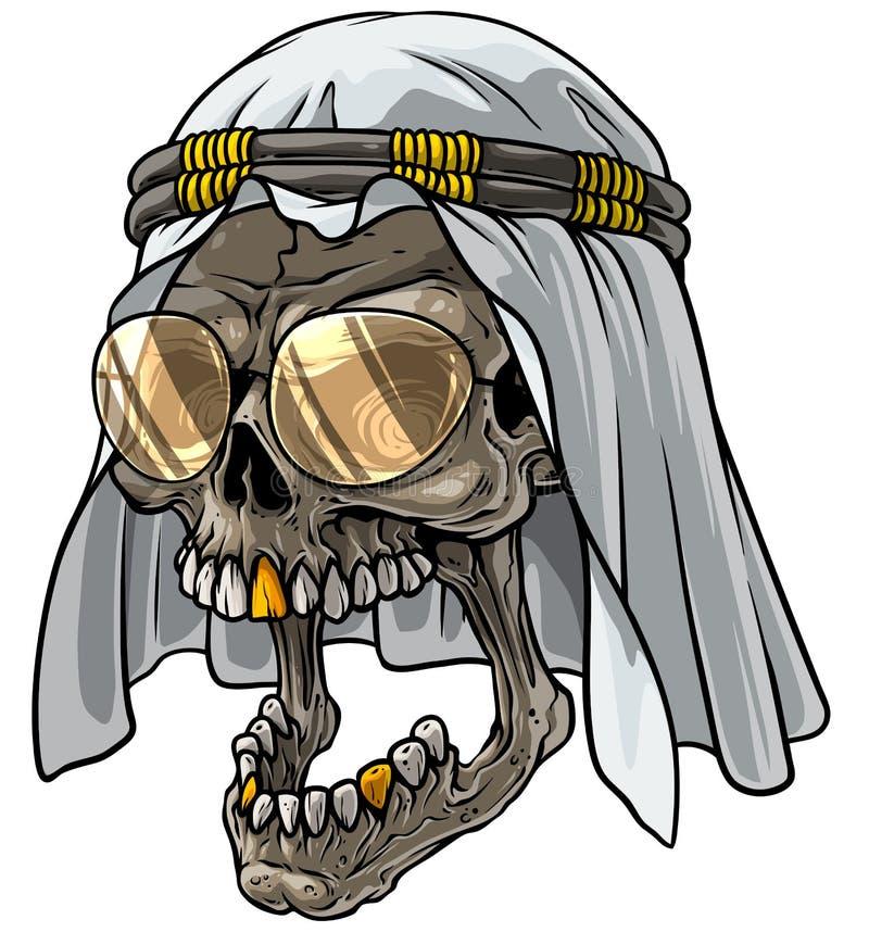 Calavera de caricatura en keffiyeh con pañuelo árabe y gafas ilustración del vector