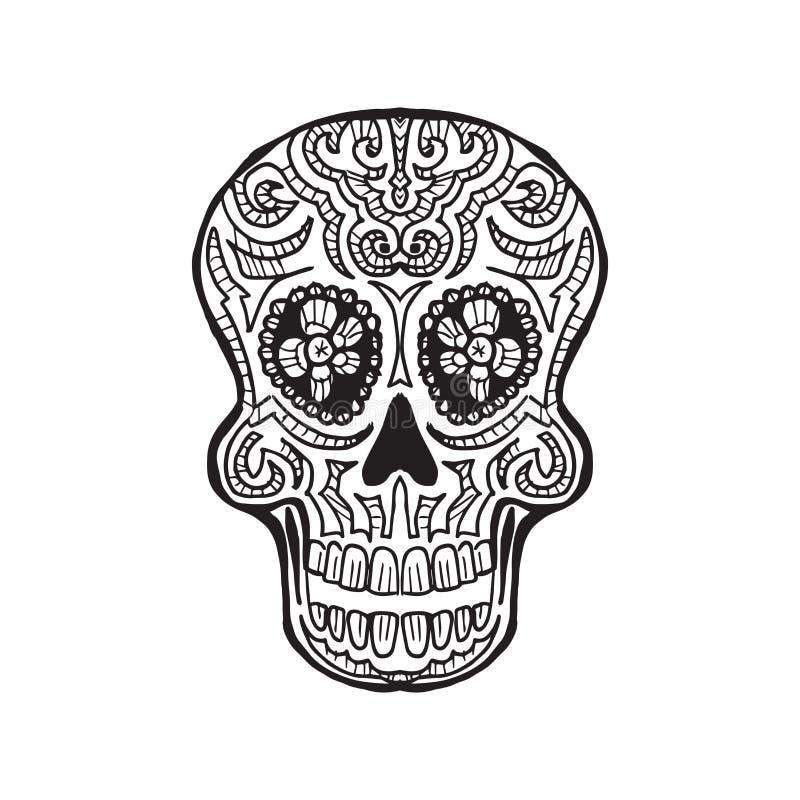 Calavera - dia de los muertos. Sketched Calavera - dia de los muertos - traditional decoration vector illustration