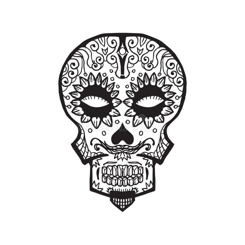 Calavera - dia de los muertos. Sketched Calavera - dia de los muertos - traditional decoration royalty free illustration