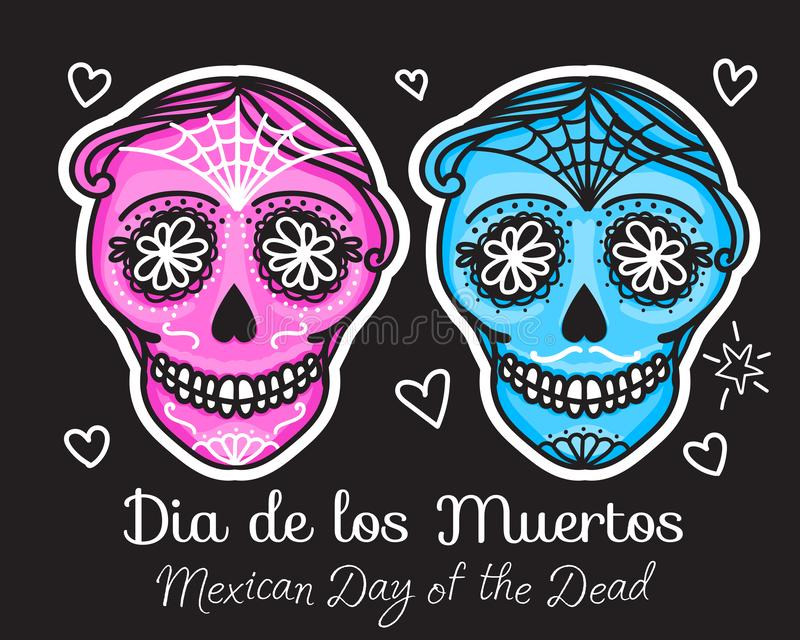 Calavera sign Dia de los muertos. Mexican Day of the dead. Vector hand darwing illustration woman and man sticker. Isolated on black background stock illustration