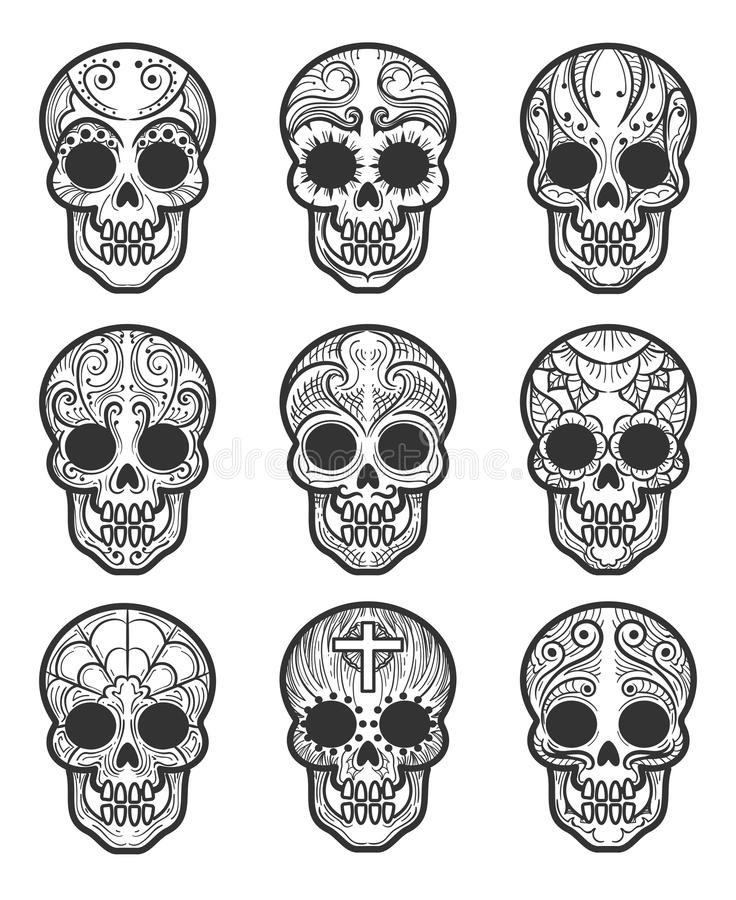 Calavera or sugar skull tattoo set. For mexican day of the dead vector art isolated on white background vector illustration
