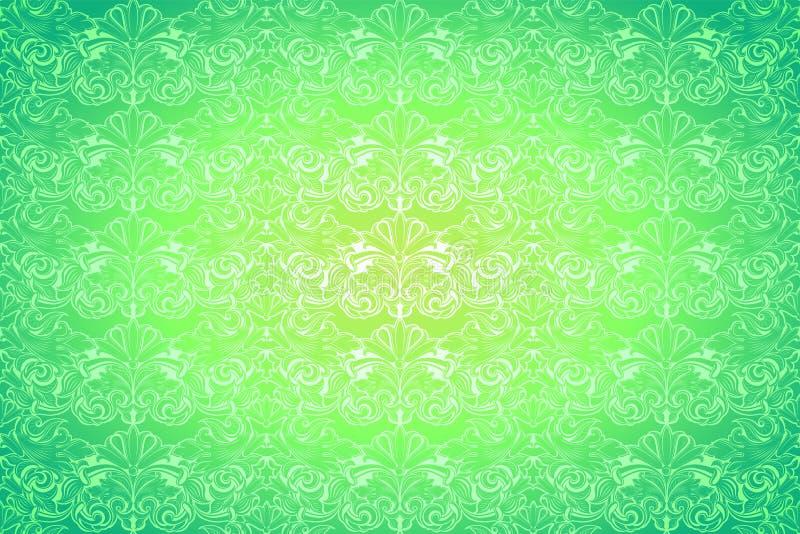 calce luminosa, fondo d'annata verde, reale con il modello barrocco classico, rococò illustrazione di stock