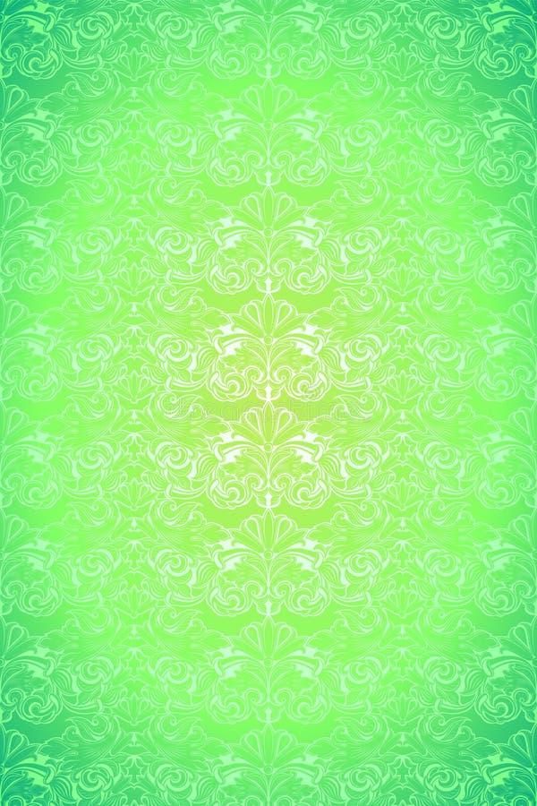 Calce luminosa, fondo d'annata verde, reale con il modello barrocco classico, rococ? illustrazione vettoriale