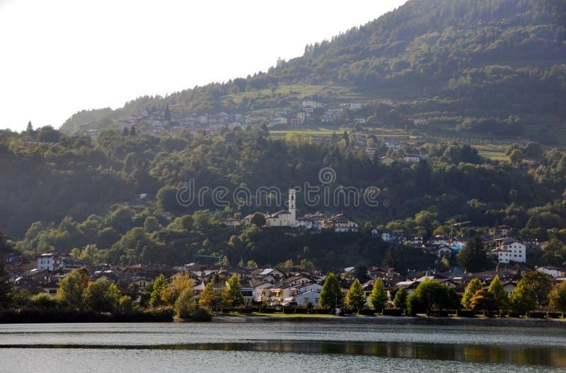 View of Calceranica at the lake seen from the shores of Lake Caldonazzo. Trentino Alto Adige. Calceranica al Lago is a village in Upper Valsugana, in the stock photos