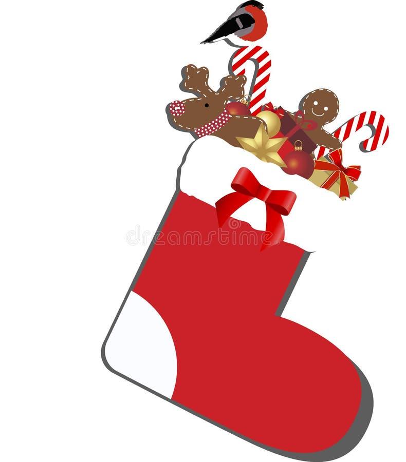 Calcetín coloreado de la Navidad del icono con los regalos dentro libre illustration