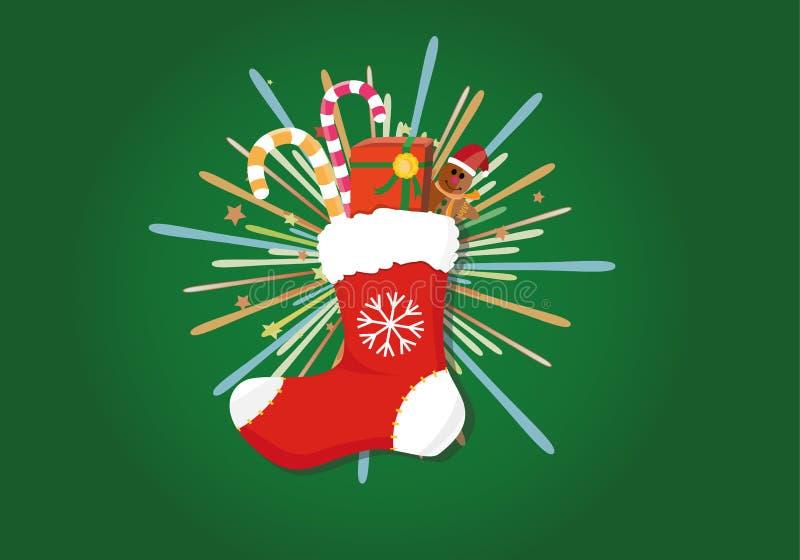 Calcetín de la decoración de la Navidad con la caja de regalo libre illustration