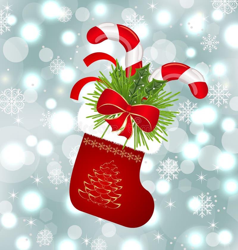 Calcet n de la navidad con los bastones dulces ilustraci n - Calcetin de navidad ...