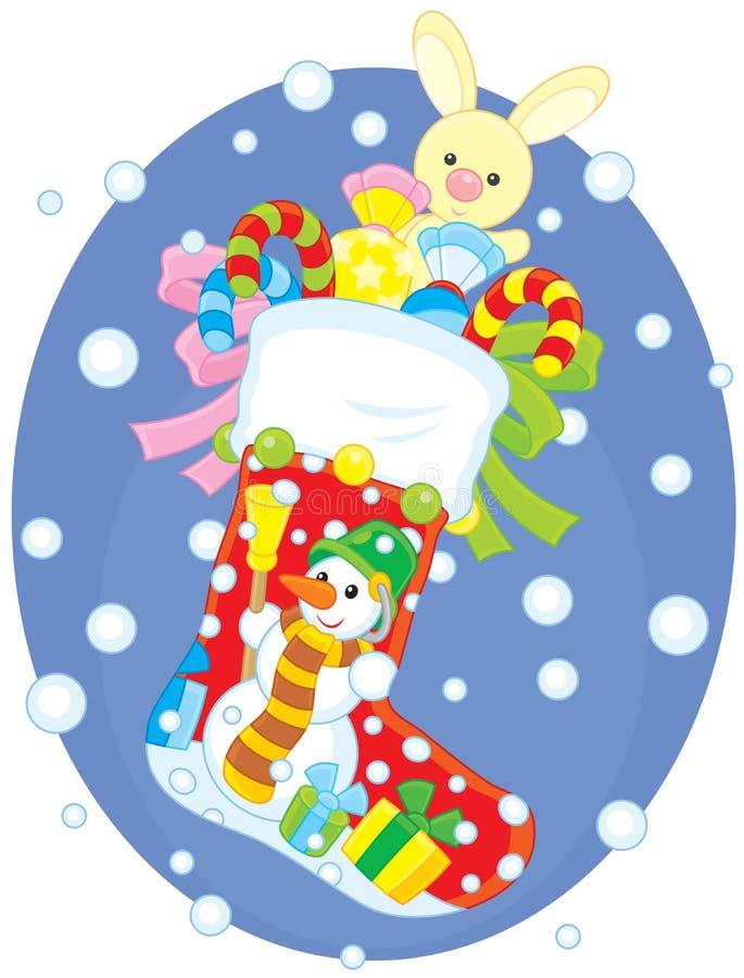 Download Calcetín De La Navidad Con Los Regalos Ilustración del Vector - Ilustración de snowman, diciembre: 42432894
