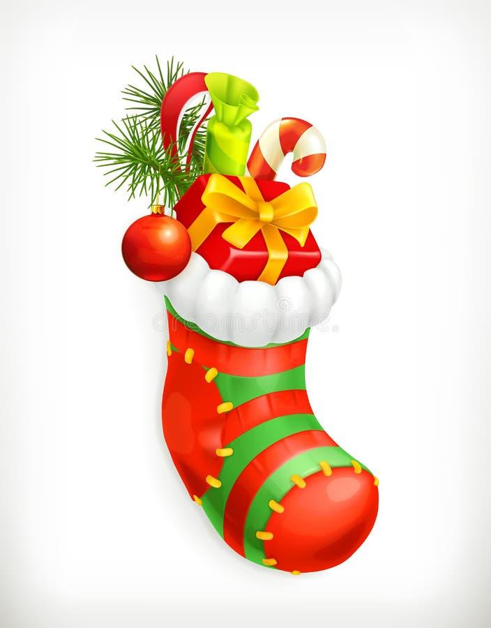 Calcetín de la Navidad con los regalos stock de ilustración