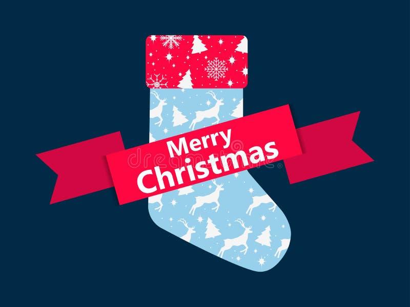 Calcetín de la Navidad con un modelo de ciervos y de árboles de navidad Icono festivo con la cinta Vector ilustración del vector