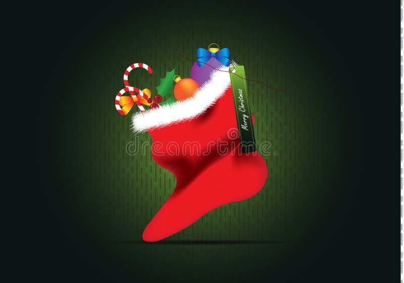 Calcetín de la Navidad de la tarjeta de Navidad stock de ilustración