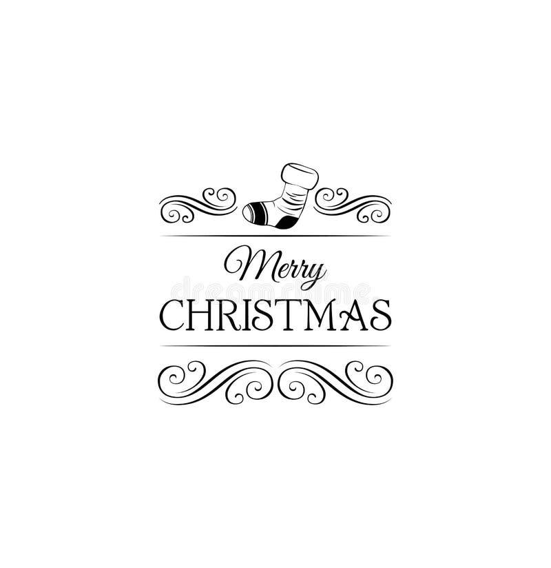 Calcetín Del Regalo Escritura De La Etiqueta De La Feliz Navidad ...