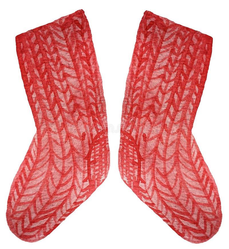 Calcetines calientes rojos hechos punto en un fondo blanco Ejemplo de la acuarela para el dise?o ilustración del vector