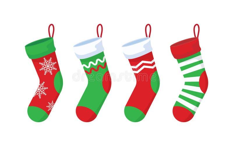 Calcetines de la Navidad fijados stock de ilustración