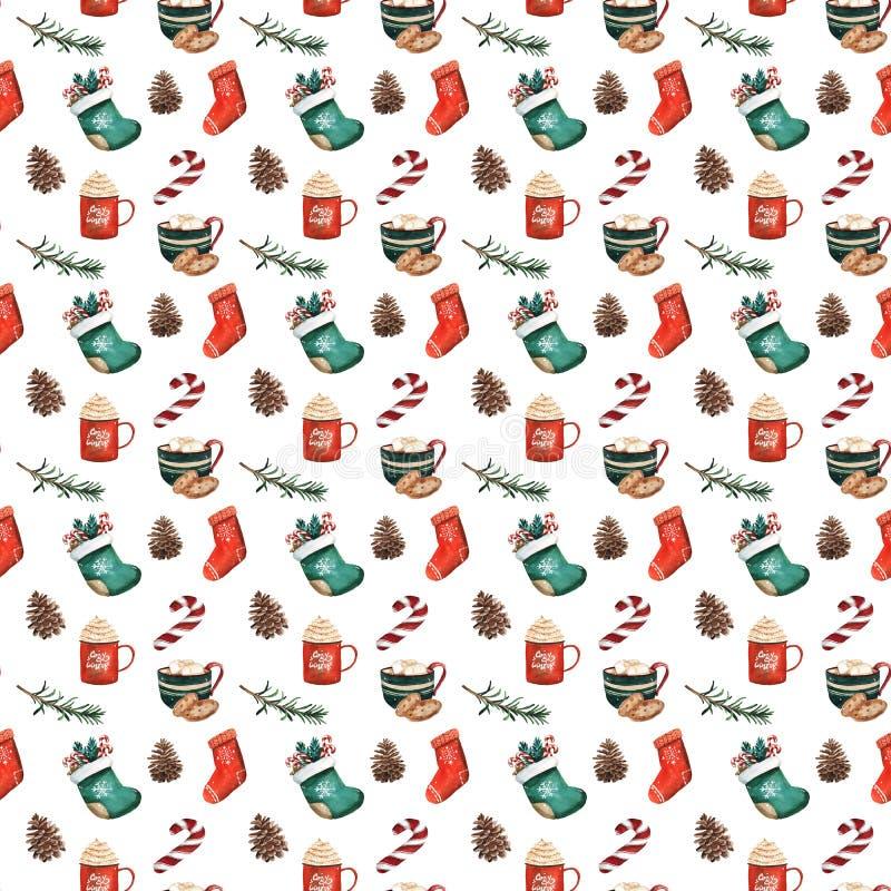 Calcetines de la Navidad, galletas del pan de jengibre, ramas de árbol de navidad, bayas rojas, canela, bastón de caramelo, naran ilustración del vector
