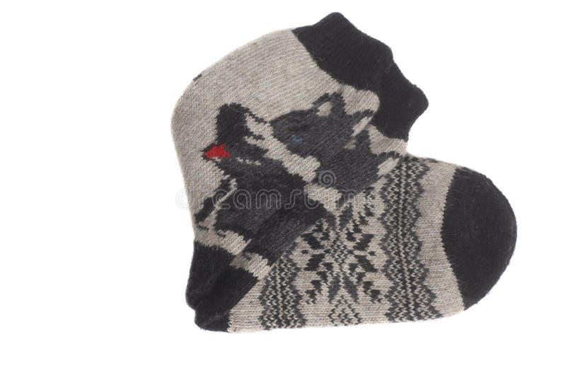 Calcetines de las lanas aislados en el fondo blanco fotografía de archivo libre de regalías
