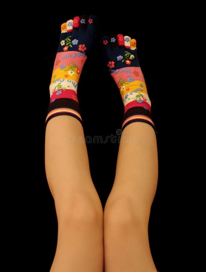 Calcetines del dedo del pie foto de archivo libre de regalías