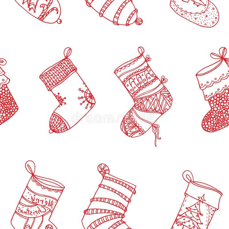 Calcetines del rojo de la Navidad Medias estilizadas Sistema de medias decorativas de la Navidad con los ornamentos Feliz Navidad libre illustration