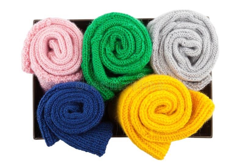 Calcetines doblados de las lanas en caja fotografía de archivo