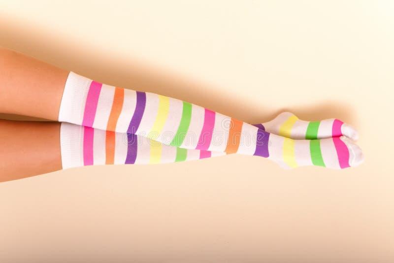 Calcetines femeninos coloridos foto de archivo