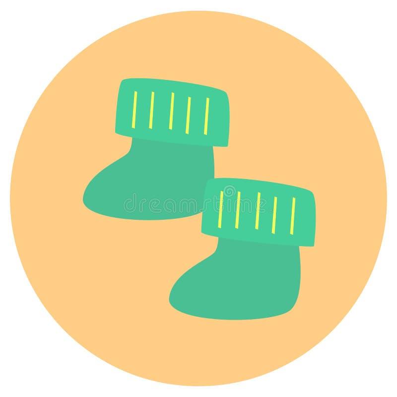 Calcetines lindos para el icono lindo del bebé en estilo plano de moda aislado en fondo del color Símbolo para su diseño, logotip ilustración del vector
