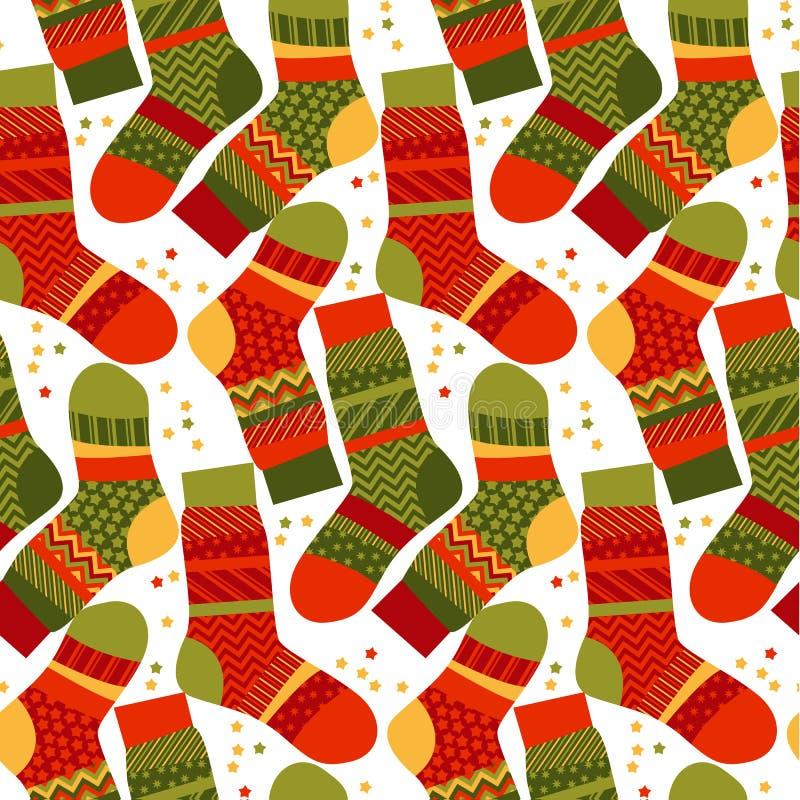 Calcetines rayados de la Navidad en estilo del remiendo stock de ilustración