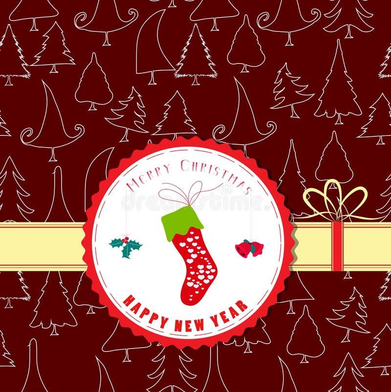 Calcetines retros del invierno de la etiqueta de la Navidad del vintage libre illustration