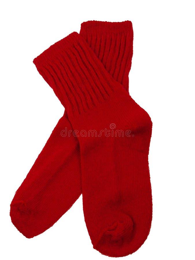 Calcetines rojos del niño imagen de archivo