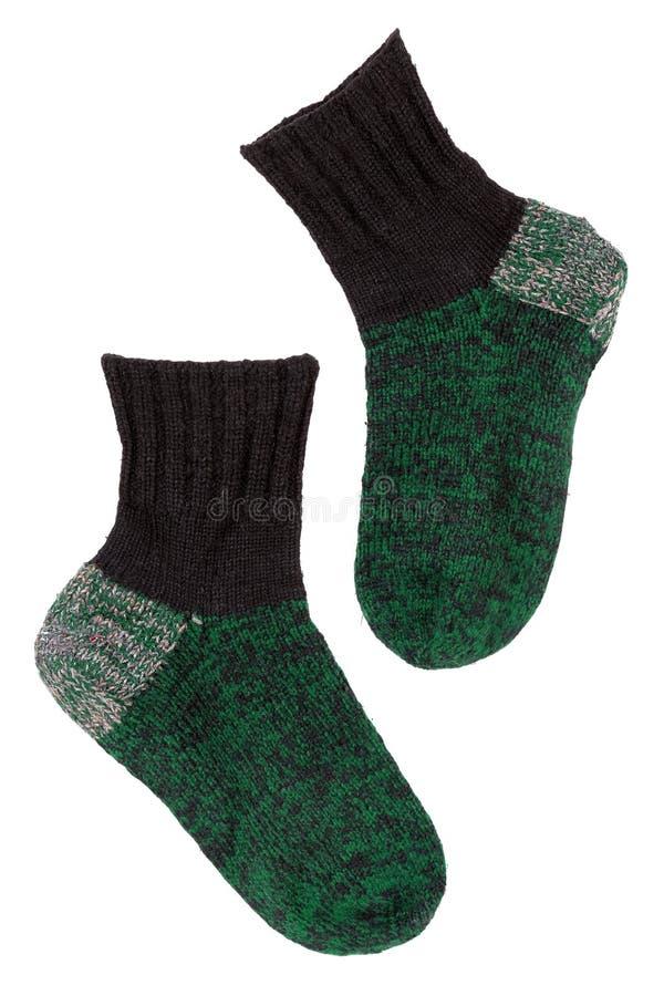Calcetines verdes hechos punto imagen de archivo libre de regalías