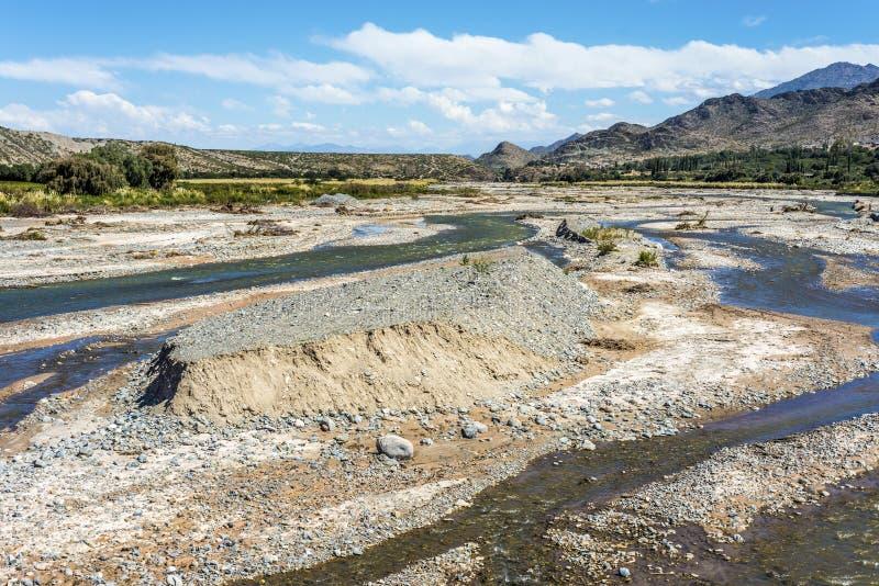 Calchaqui flod i Salta, nordliga Argentina. arkivbilder