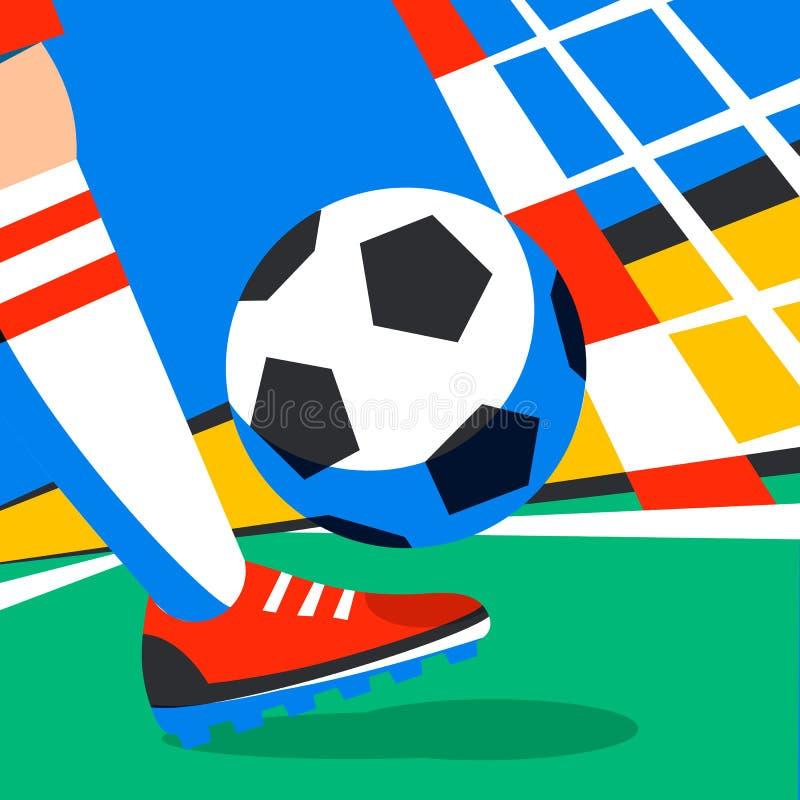 Calciatore con la palla di calcio contro lo sfondo della tazza di calcio dello stadio Benvenuto in Russia Giocatore di football a royalty illustrazione gratis