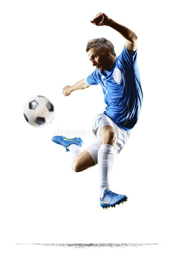 Calciatore di calcio professionistico nel fondo bianco isolato azione fotografia stock libera da diritti