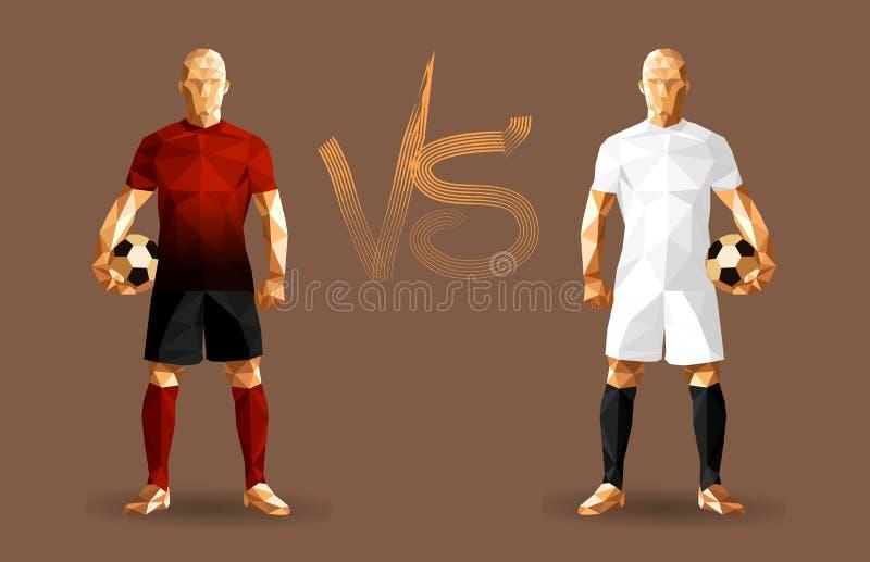 Calciatori rosso scuro e bianchi che tengono i calci d'annata, rappresentante royalty illustrazione gratis
