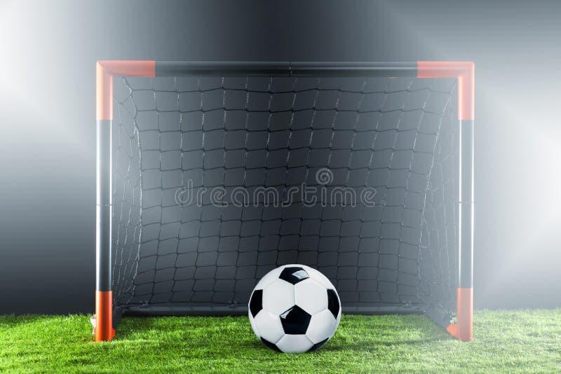 Calcio Concetto di campionato con il calciatore immagini stock libere da diritti