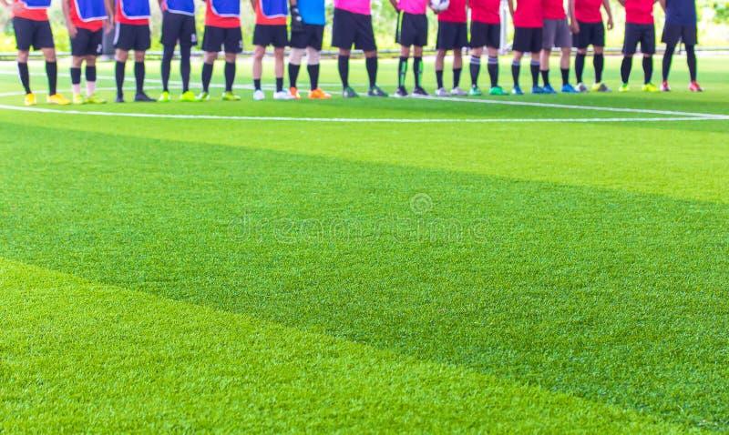 Calcio dell'interno, erba artificiale del campo di calcio, spazio della copia fotografie stock