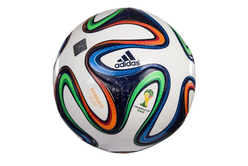Calcio 2014 della coppa del Mondo di Adidas Brazuca immagini stock
