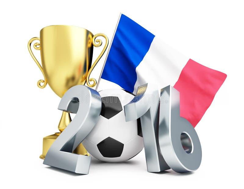 Calcio 2016 della Francia, tazza dell'oro e bandiera della Francia royalty illustrazione gratis