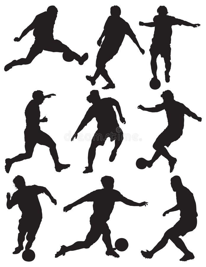 calcio della siluetta dei giocatori illustrazione vettoriale
