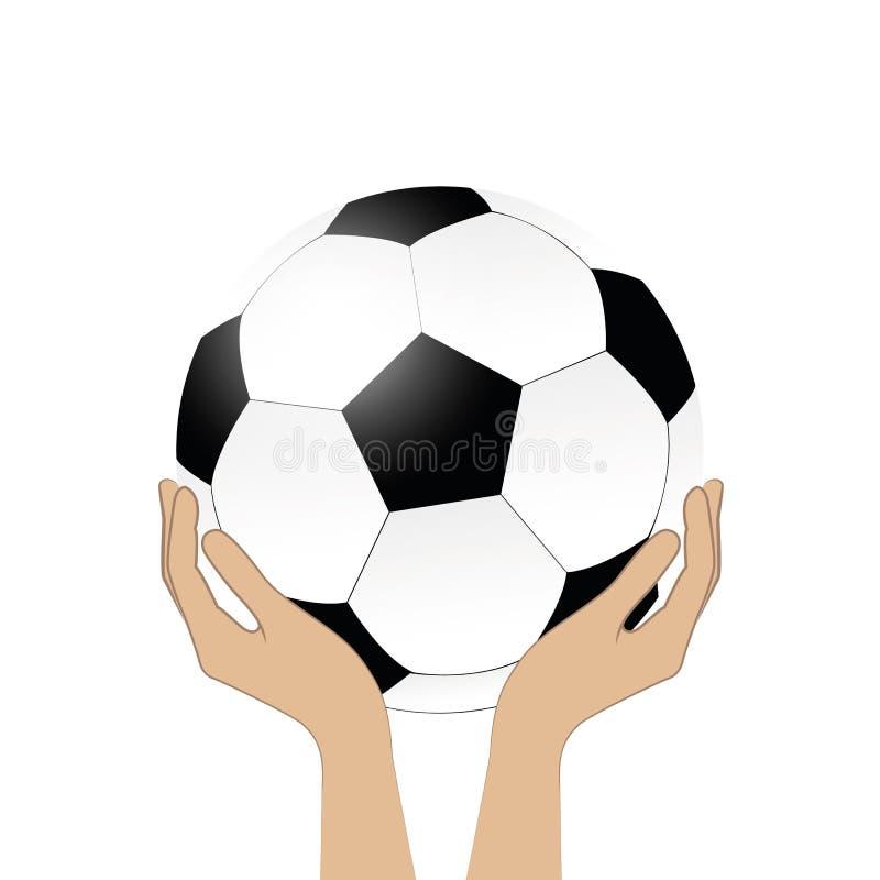 Calcio della tenuta delle mani isolato su fondo bianco illustrazione di stock
