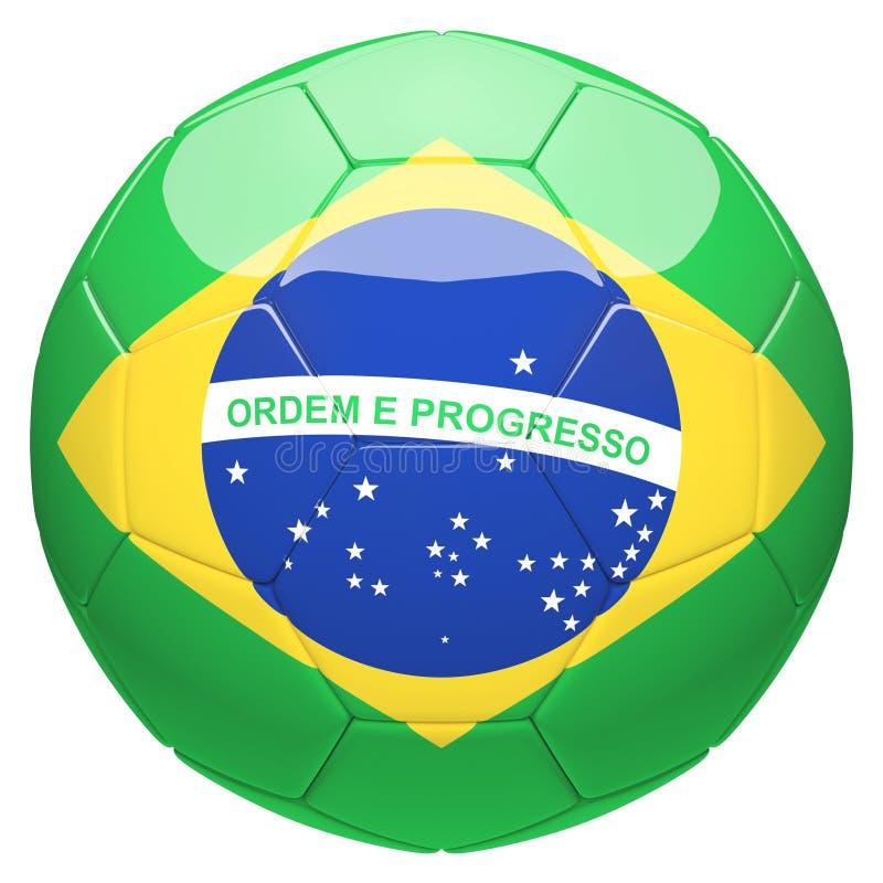 Calcio di calcio con la rappresentazione della bandiera 3d del Brasile illustrazione di stock