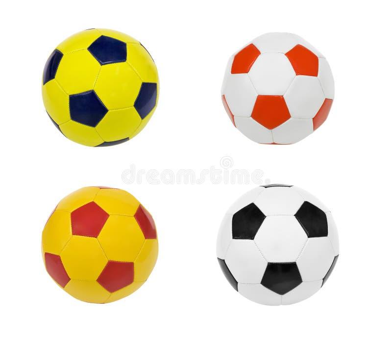 Calcio di calcio di quattro palle isolato su fondo bianco immagine stock