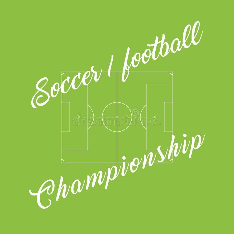 Calcio di campionato, fondo verde di calcio Linea dello stadio illustrazione di stock